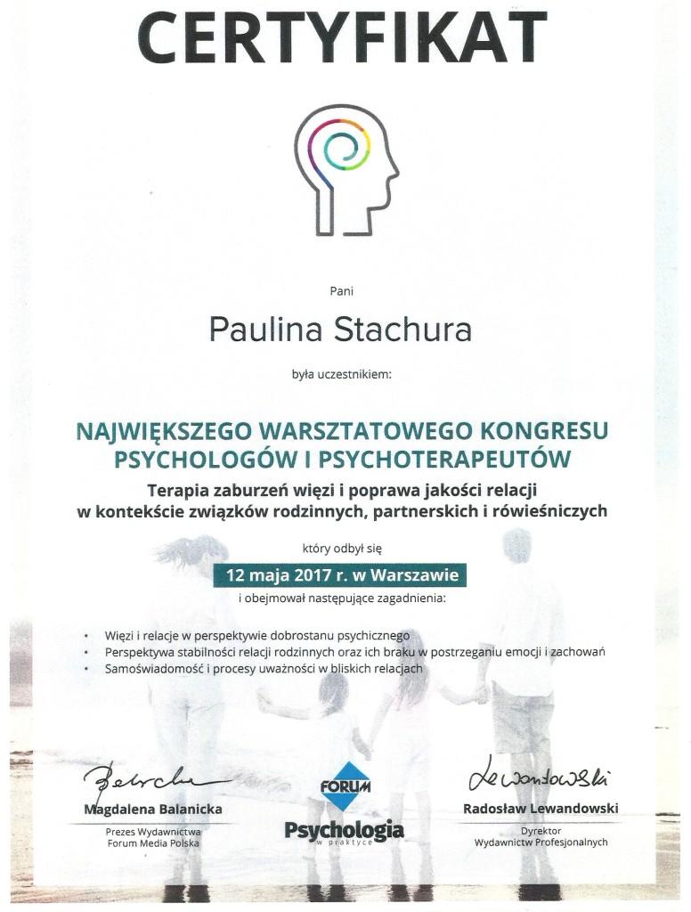 Certyfikat Terapia zaburzeń Paulina Stachura